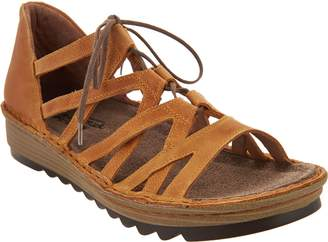 Naot Footwear Leather Lace-up Wedge Sandals - - Yarrow