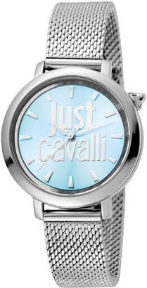 Just Cavalli 34mm Logo Stainless Steel Bracelet Watch, Blue