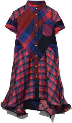 Sacai Plaid Mix Short Dress in Red