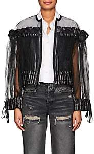Noir Kei Ninomiya Women's Smocked Tulle Collarless Jacket - Black