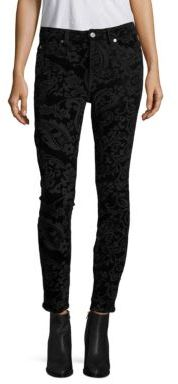 7 For All Mankind Velvet Paisley-Print Ankle Skinny Jeans $199 thestylecure.com