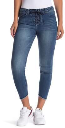 Velvet Heart Hanna Lace-Up Frayed Hem Cropped Jeans
