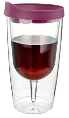Southern Homewares Merlot Red Insulated Wine Tumbler - Double Wall Acrylic - 10oz