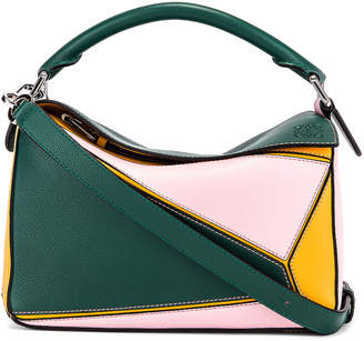 Loewe Puzzle Small Bag in Green & Pastel Pink | FWRD
