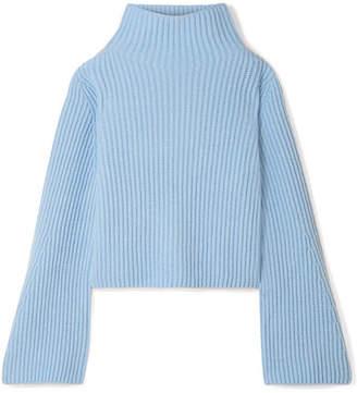Stella McCartney Ribbed Cashmere And Wool-blend Turtleneck Sweater - Light blue