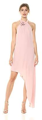 BCBGMAXAZRIA Azria Women's Deborah Asymmetrical Halter Dress