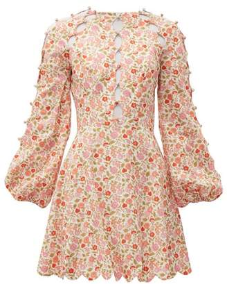 Zimmermann Goldie Floral Print Linen Blend Mini Dress - Womens - Pink