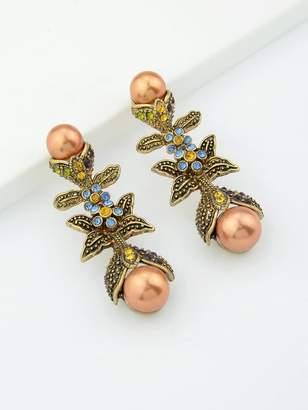 Shein Colorful Rhinestone Simulated-Pearl Leaf Long Party Earrings