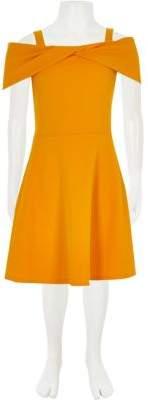 River Island Girls yellow scuba bow dress