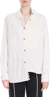 Loewe Button-Front Long-Sleeve Cotton Shirt w/ Lace Trim