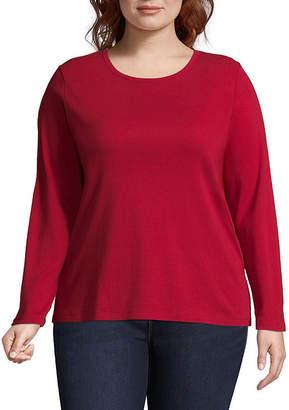 ST. JOHN'S BAY Womens Crew Neck Long Sleeve T-Shirt - Plus