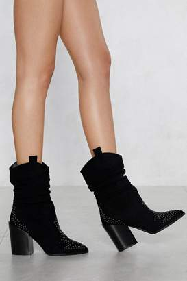 Nasty Gal Ruche to the Top Vegan Suede Boot