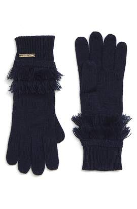 MICHAEL Michael Kors Fringe Ribbed Gloves