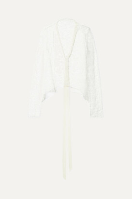 Danielle Frankel - Open-back Grosgrain-trimmed Chantilly Lace Top - White