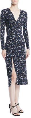 Jason Wu V-Neck Long-Sleeve Floral-Print Jersey Dress