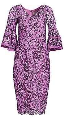 Lela Rose Women's Corded Lace Flounce Sleeve Dress