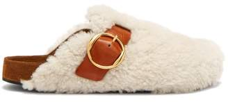 Isabel Marant Mirvin Shearling And Leather Backless Clogs - Womens - Cream