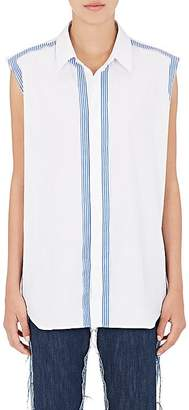 Maison Margiela WOMEN'S STRIPE-TRIMMED COTTON SLEEVELESS BLOUSE