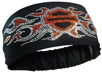 Harley-Davidson Women's Studded Bar & Shield Flames Headband Scrunchie, HE41966