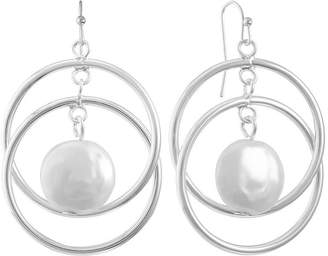 Liz Claiborne White Simulated Pearl 22mm Round Hoop Earrings