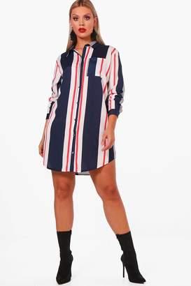 boohoo Plus Stripe Belted Shirt Dress