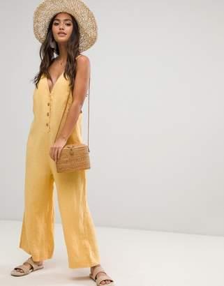 rhythm Amalfi linen jumpsuit in yellow