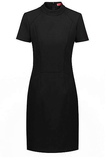 Short-sleeved dress in stretch fabric with stand collar