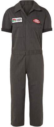 R 13 Appliquéd Pinstriped Cotton-blend Canvas Jumpsuit - Gray