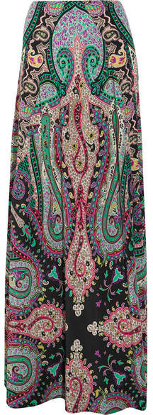 EtroEtro - Printed Silk Crepe De Chine Maxi Skirt - Green