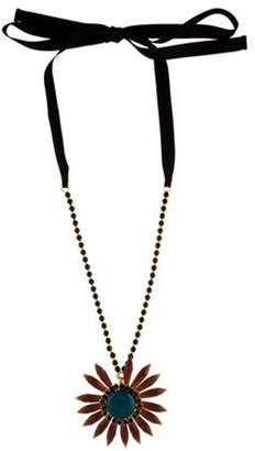 Marni Crystal & Resin Flower Necklace Gold Crystal & Resin Flower Necklace