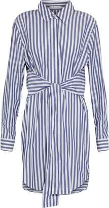 Alexander Wang Tie-front Striped Cotton-poplin Shirt Dress