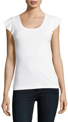 Lord & Taylor Ribbed Flutter Sleeve T-Shirt $34 thestylecure.com