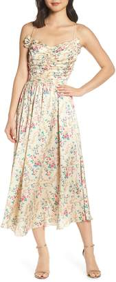 Jill Stuart Floral Charmeuse Midi Dress