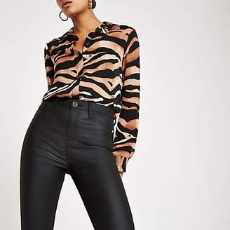 River Island Black Harper coated high rise skinny jeans