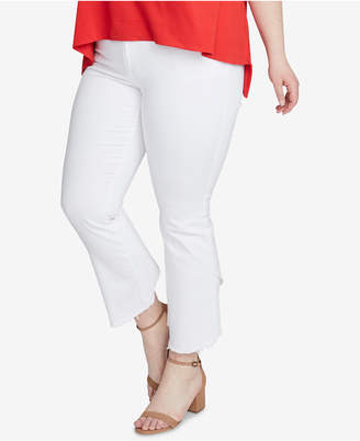 Rachel Roy Trendy Plus Size Cropped White Jeans
