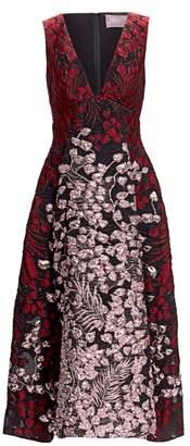 Lela Rose Deep-V Metallic Fit-&-Flare Dress