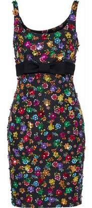 Moschino Embellished Floral-Print Cotton-Blend Faille Mini Dress