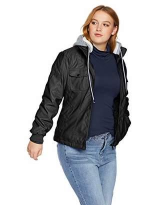 34c0e3f078e Yoki Women s Plus Size Faux Leather Jacket with Fleece Hood · Amazon.com ...