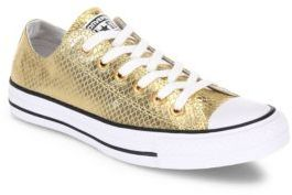 Converse Chuck Taylor All Star Metallic Leather Low-Top Sneakers $80 thestylecure.com