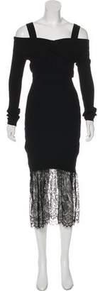 Prabal Gurung Rib Knit Off-The-Shoulder Midi Dress