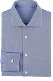 Uman Men's Micro-Checked Basket-Weave Cotton Dress Shirt - Dk. Blue