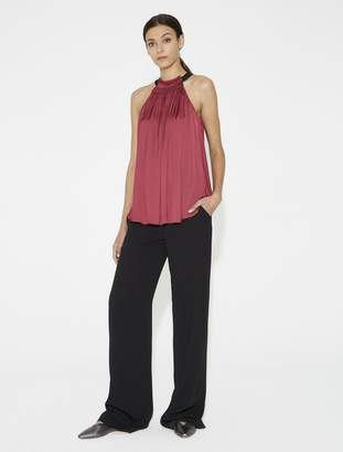 Halston Ruched Satin Top