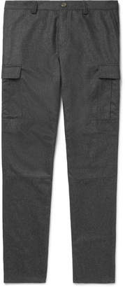 Brunello Cucinelli Tapered Mélange Wool-Flannel Cargo Trousers