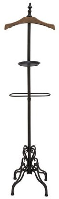 DecMode Decmode Rustic 66 Inch Iron and Fir Wood Standing Coat Rack, Black