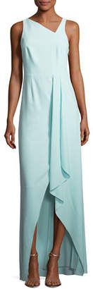 Halston Sleeveless Asymmetric-Neck Evening Gown w/ Flowy Drape