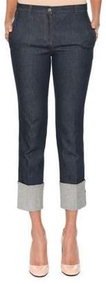 Bottega Veneta Slim Straight-Leg Jeans w/ Leather Intrecciato Trim and Deep Cuff