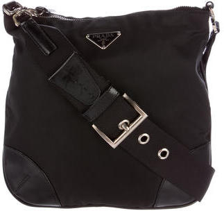 prada Prada Leather-Trimmed Tessuto Crossbody Bag