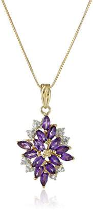 18k Yellow Gold Plated Sterling Silver Multi-Gemstone and Diamond Accent Drop Pendant Necklace
