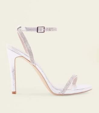 New Look Silver Diamanté Strap Stiletto Wedding Sandals
