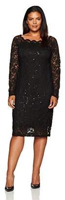 Tiana B Women's Plus Size Scallop Neck Sequin Lace Dress